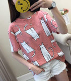 Cute Cartoon Cat Print T shirt <2 Colors> - Kawaii Treats