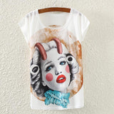 Printed  Ladies  White T-Shirt <20 Styles>