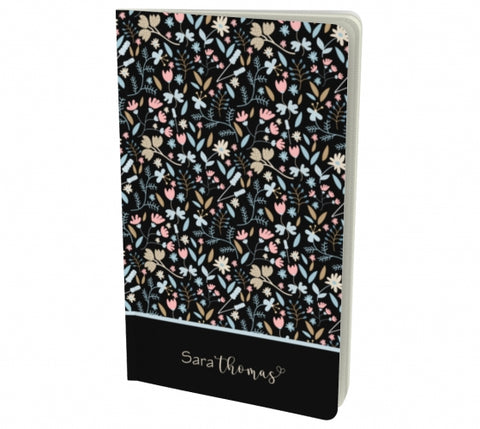 Personalized Floral notebook - black