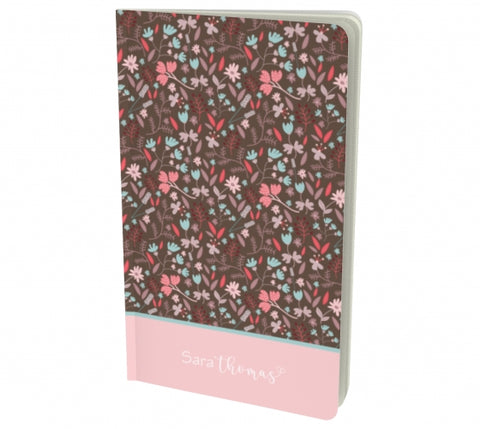 Personalized Floral notebook - brown