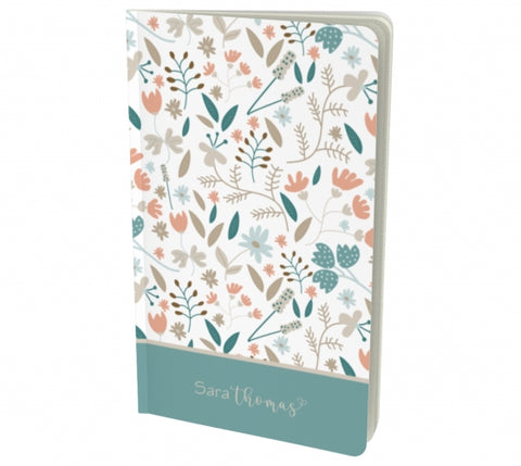 Personalized Floral notebook green