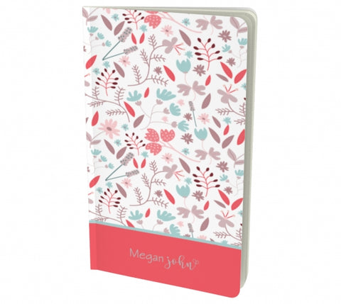 Personalized Floral notebook - red