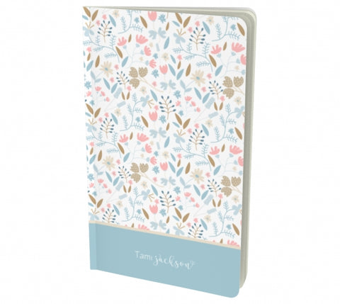 Personalized Floral notebook - light blue