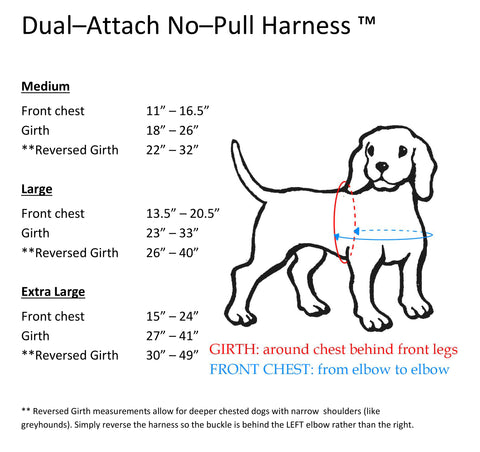 Size Chart for Dual Attach No Pull Harness