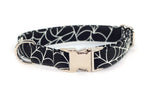 "Glow in the Dark Spider Webs adjustable dog collar, small 5/8"", ready to ship!"