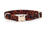 Black and Orange Scrolls Adjustable Dog Collar - Fox Valley Dog Collars