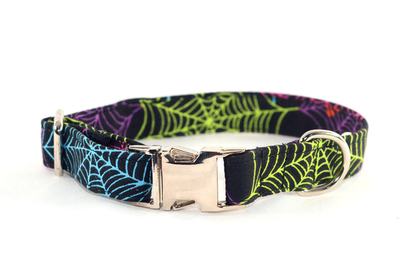 Colorful Spider Webs Adjustable Dog Collar - Fox Valley Dog Collars
