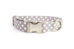 Gray with White Polka Dots Adjustable Dog Collar - Fox Valley Dog Collars