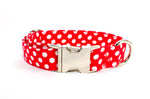 Red with White Polka Dots Adjustable Dog Collar - Fox Valley Dog Collars