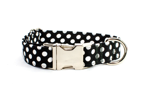 Black with White Polka Dots Adjustable Dog Collar - Fox Valley Dog Collars