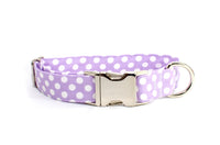 Lavender with White Polka Dots Adjustable Dog Collar