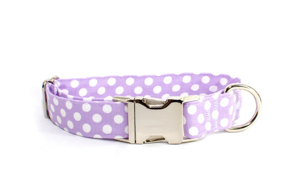 Lavender with White Polka Dots Adjustable Dog Collar - Fox Valley Dog Collars