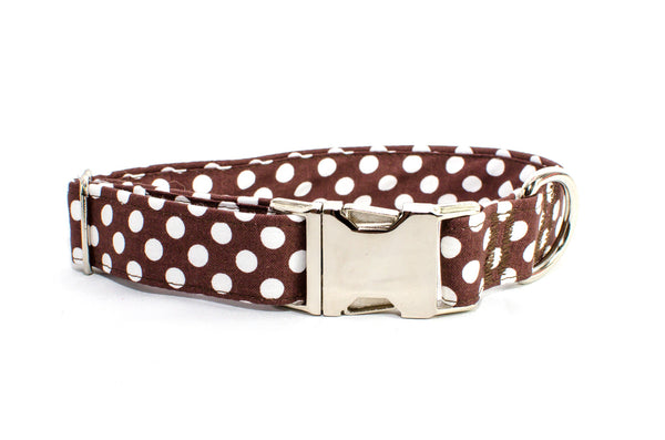 Brown with White Polka Dots Adjustable Dog Collar - Fox Valley Dog Collars