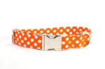Orange with White Polka Dots Adjustable Dog Collar - Fox Valley Dog Collars