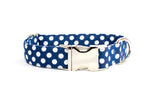 Navy blue with White Polka Dots Adjustable Dog Collar - Fox Valley Dog Collars