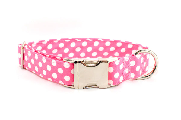 Pink with White Polka Dots Adjustable Dog Collar