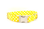 Yellow with White Polka Dots Adjustable Dog Collar - Fox Valley Dog Collars