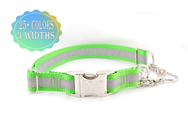 Quick Release Chain Martingale Dog Collar - Reflective