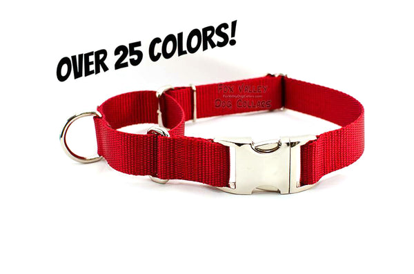 Solid Color Quick Release Martingale Dog Collar - Fox Valley Dog Collars