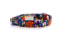 Bold Colors Flowers & Butterflies on Navy Adjustable Dog Collar - Fox Valley Dog Collars