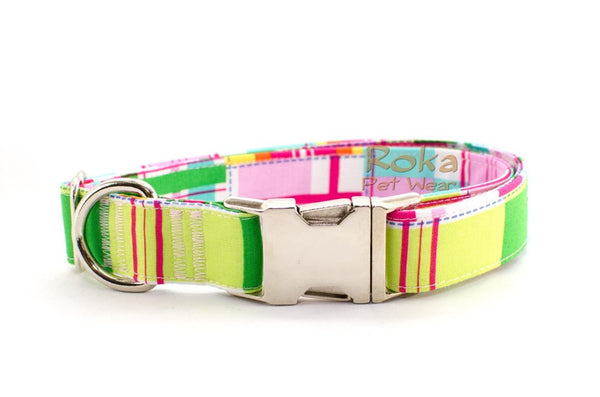 Pink & Neon Madras Summer Plaid Adjustable Dog Collar - Fox Valley Dog Collars