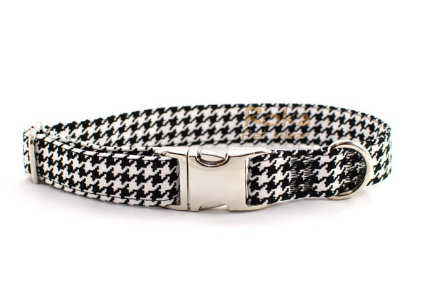 Black Houndstooth Adjustable Dog Collar - Fox Valley Dog Collars