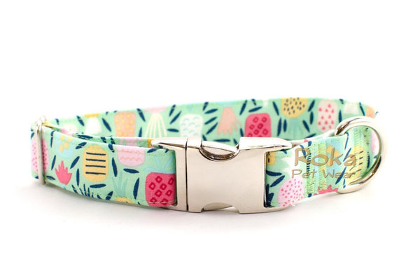 Tropical Pineapples on Mint Adjustable Dog Collar - Fox Valley Dog Collars
