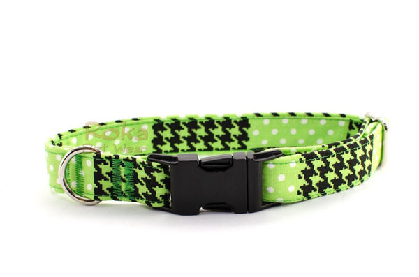 Lime Green & Black Houndstooth & Dots Adjustable Dog Collar - Fox Valley Dog Collars