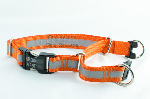 Semi-BREAKAWAY Reflective Quick Release Martingale Dog Collar