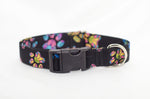 Painted Paw Prints Adjustable Dog Collar - Fox Valley Dog Collars