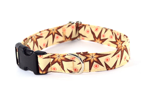 Holiday Stars on Eggnog Adjustable Dog Collar - Fox Valley Dog Collars