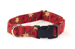Holiday Stars on Dark Red Adjustable Dog Collar - Fox Valley Dog Collars