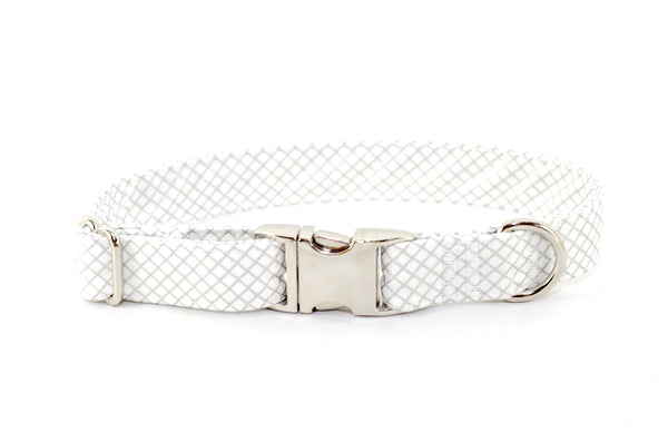 Silver Metallic CrissCross Adjustable Dog Collar - Fox Valley Dog Collars