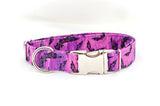 Flying Bats on Purple Adjustable Dog Collar - Fox Valley Dog Collars
