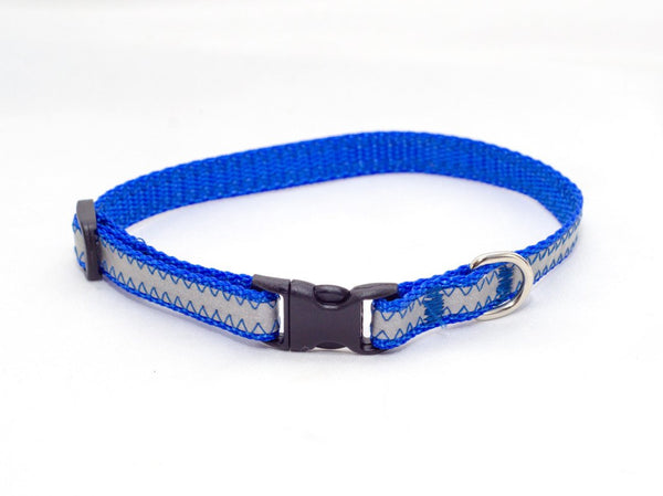 "3/8"" royal blue reflective tiny dog collar - Fox Valley Dog Collars"