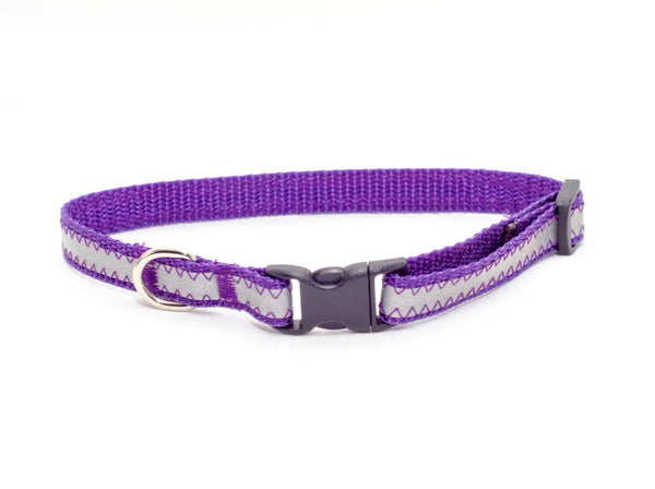 "3/8"" purple reflective tiny dog collar - Fox Valley Dog Collars"