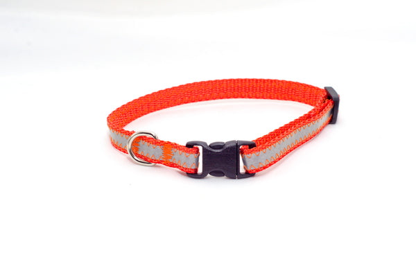 "3/8"" orange reflective tiny dog collar - Fox Valley Dog Collars"