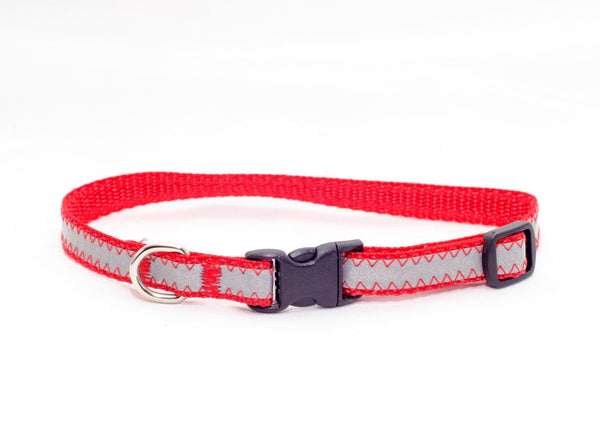 "3/8"" red reflective tiny dog collar - Fox Valley Dog Collars"