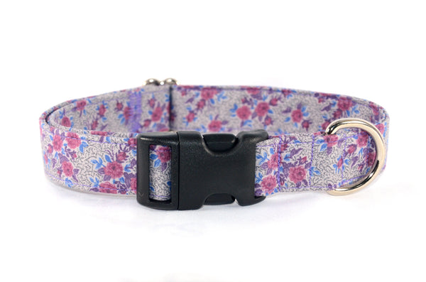 Perfect Purples Textured Flowers Adjustable Dog Collar - ready to ship!