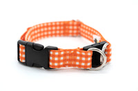 Gingham Fabric BreakAway Dog Collar with Optional Personalization, 11 colors