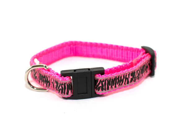 Reflective Hot Pink Zebra Striped breakaway Cat collar - Fox Valley Dog Collars