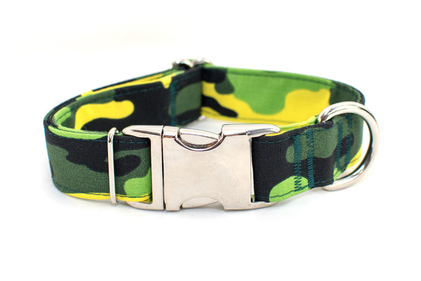 Green Camouflage Adjustable Dog Collar