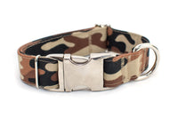 Brown Camouflage adjustable dog collar, medium - Fox Valley Dog Collars