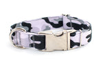 Black & White Camouflage adjustable dog collar, medium