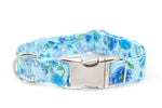 Blue Bouquets adjustable dog collar, medium - Fox Valley Dog Collars