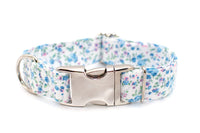 Blue & Pink Petals adjustable dog collar, medium
