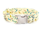 Leaves on Pale Yellow adjustable dog collar, large