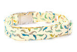 Leaves on Pale Yellow Adjustable Dog Collar