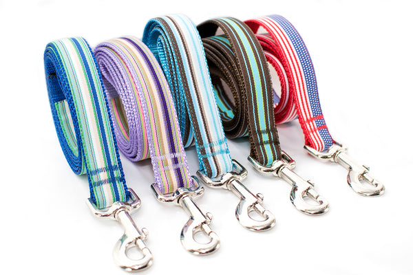 "Preppy Striped 1"" Leashes - Fox Valley Dog Collars"