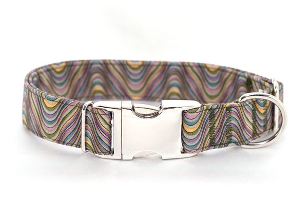 Layered Waves, Stripes, Metallic Adjustable Dog Collar - Fox Valley Dog Collars
